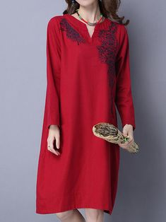 Casual Women Embroidery Loose Long Sleeve O-Neck Dresses