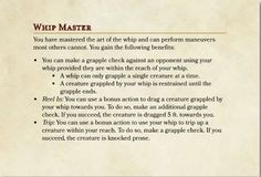 Use the D&D 5e whip feat created by Dungeon Solvers to give characters the ability to trip and grapple their opponents using a whip!