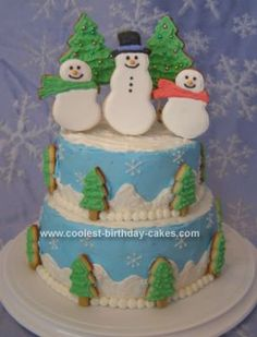 Homemade Winter Wonderland Cake: I made this Winter Wonderland cake for a Christmas dinner with my husband's family.  The bottom tier is two 8-inch layers of spice cake with cinnamon cream