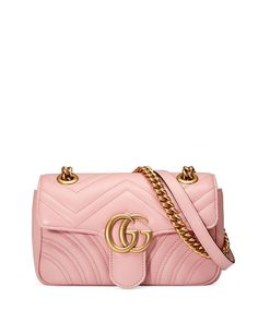 GUCCI Gg Marmont 2.0 Mini Quilted Leather Crossbody Bag, 5554 Candy. #gucci #bags #shoulder bags #leather #crossbody #lining #