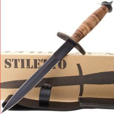V-42 Double Edged Dagger Fighting/Combat Knife with Sheath