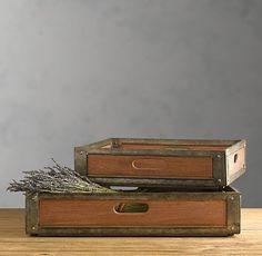wood and metal trays - Restoration Hardware - $129-$199