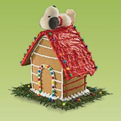 a Snoopy doghouse gingerbread house