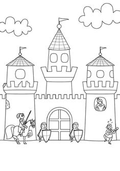 Coloring page Knight: Print Castle for coloring for free - Coloring Pages Castle Coloring Page, Colouring Pages, Coloring Pages For Kids, Coloring Sheets, Adult Coloring, Coloring Books, Diy For Kids, Crafts For Kids, Kids Castle