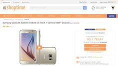 [Shoptime] Samsung Galaxy S6 32GB 4G Android 5.0 Tela 5.1 ´ Câmera 16MP - Dourado - de R$ 1.633,40 por R$ 1.579,99 (3% de desconto)