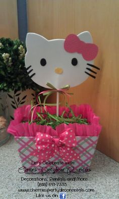 Could I make this out of foam? Hello Kitty Centerpieces, Kids Party Centerpieces, 3rd Birthday, Birthday Parties, Kitty Party, Event Organization, Showers, Birthdays, Arts And Crafts