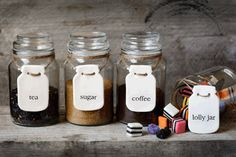 Our new set of 4X Ceramic Mason Jar Labels - Tea, Coffee, Sugar & Lolly Jar now up on the website www.thelittlewhitebox.co.nz