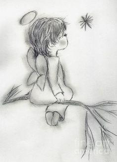 Angel Drawing - Angel Wishing on a Star by Sonya Chalmers Angel Drawing, Baby Drawing, Painting & Drawing, Angel Sketch, Drawing Lips, Drawing Drawing, Pencil Art Drawings, Art Drawings Sketches, Cute Drawings