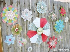 Large flowers all made from paper. Perfect wall art or party decor. Make a big statement for super cheap!