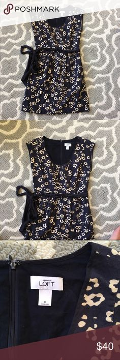 Ann Taylor LOFT Dress Navy and cream Ann Taylor LOFT Dress. Back Zips up. Has Two pockets in front of Dress. LOFT Dresses