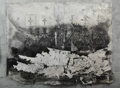 """Matthew Woodward's large scale drawings are truly examples of """"beautiful decay"""" with violently drawn, torn, erased, and collaged decorative motifs that one would find on old industrial buildings of yesteryear. These floral and elaborate patterns and flourishes are taken through an intense process of aging where Woodward attacks the surface like an artistic jackhammer mining the paper for undiscovered imagery."""