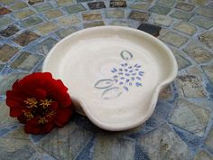 Ceramic Spoon Rest with Dahlia Carving in Cream and Periwinkle ^^ Trust me, this is great! Click the image. : Handmade Gifts