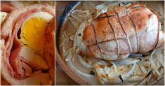 Do kuřecích prsou jsem vložila plátky sýra, šunky, slaniny, vajíčko a zabalila. Minimální množství ingrediencí a tak chutné! Ratatouille, Shrimp, Pork, Turkey, Favorite Recipes, Bacon, Meat, Chicken, Brisket