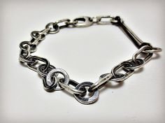 Silver Chain Bracelet Alternative Chain Bracelet Hammered Silver Bracelet Artisan Jewelry Handmade Metalsmith Mixed Metal Jewelry, by DeborahLeeTaylor