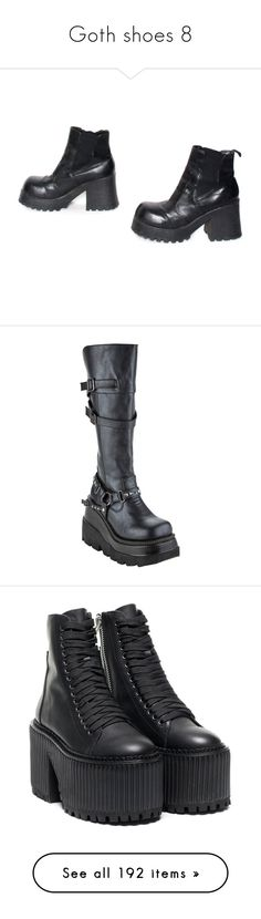 """""""Goth shoes 8"""" by morbid-octobur ❤ liked on Polyvore featuring shoes, boots, ankle booties, footwear, black platform boots, chunky platform boots, black bootie, high heel ankle boots, ankle boots and platform wedge boots"""