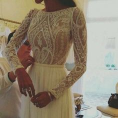 A-line Floor-length Wedding Dress - Bateau Long Sleeves with Lace Beading