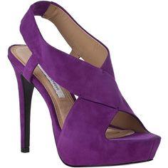 DIANE VON FURSTENBERG Zia Ii Platform Sandal Purple Suede ❤ liked on Polyvore