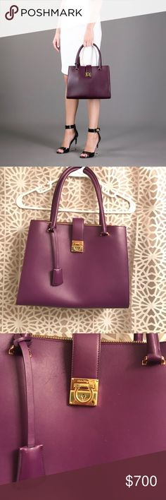 """Salvatore Ferragamo Purse Beautiful purple color with red interior. Lock on front with key- see 7th pic. Zipper pouch is removable- also shown in 7th pic. Gold hardware, outside zipper compartment as well. Approx. measurements: 12.5"""" W x 10"""" H x 5"""" Deep at bottom. Cover photo is slightly darker than true color- rest of the photos are actual bag. Bag is in excellent used condition. There are faint marks throughout (shown in pics). Price reflects this. Salvatore Ferragamo Bags"""