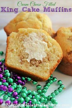 Mardi Gras Inspired Cream Cheese Filled King Cake Muffins