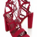 Olivia James Burgundy Lace Up Tie Strappy Side Detailing Chunky High Heels Faux Suede