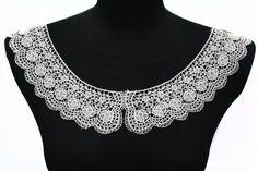2 PCS Lace Crochet Neckline Collar Applique for Embellishments #lacecollar #diyfashion #patchapplique