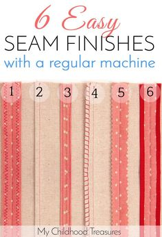 Sewing Techniques Couture How to finish seams without a serger - 6 EASY ways. - Neatly finishing your seams not only makes your sewing look professional but keeps the edges from fraying. Learn 6 ways seam finishes without a serger. Sewing Lessons, Sewing Class, Sewing Basics, Love Sewing, Sewing Hacks, Sewing Tutorials, Sewing Tips, Serger Sewing, Sewing Ideas
