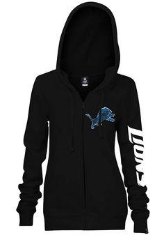 Detroit Lions Womens Full Zip Jacket - Black Lions Brushed Fleece Long Sleeve Full Zip