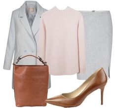 Grey coat+light pink sweater+grey pencil skirt+brown pumps+brown handbag. Winter Business Casual / Workwear Outfit 2017-2018