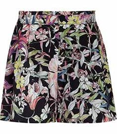 Womens Black Printed Shorts - Reiss Felix