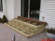 Building Wooden Steps Over Concrete Steps &DU28 – Roccommunity How To Build Porch Steps, Building Deck Steps, Steps To Patio, Garage Steps, Back Steps, Front Steps, Wooden Steps Outdoor, Wood Patio, Backyard Patio