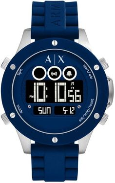 2ee3a407923 Relógio Masculino Armani Exchange Blue Digital Chronograph 48mm Masculino