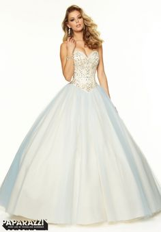 SOLD  97031 Prom Dresses / Gowns Beaded Satin and Tulle Ballgown Light Blue