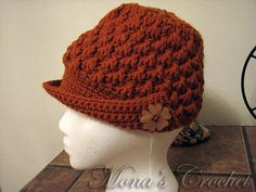 Hand Crocheted Rust Women's Peaked Hat With Wooden Flower Buttons | Brimmed Hat | Women's Brimmed Hat | Lady's Brimmed Hat