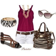 Many of these Polyvore outfits have pieces included that are outrageously expensive for most people; only the glasses and shorts are cheap here, but this seems to be a nice look that can be easily replicated with similar affordable pieces.