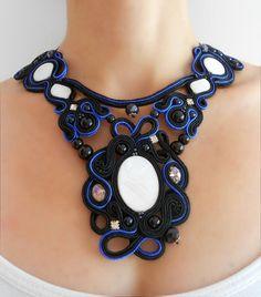 'Nighty, night' ooak soutache neckalace, modern necklace, artistic necklace, jewelry artwork, original, unique design, blac necklace, blue necklace, statement necklace