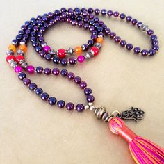 Gemstone garnet mala necklace, handmade tassel, boho chic tassel necklace