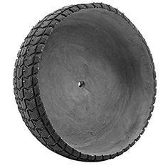 8.5 Inch Modern Black Round Textured Cement Tire Patterned Flower Planter Pot Vase