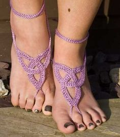 Can't wait for summer... I'm putting these barefoot sandals in my queue!  On Ravelry:  http://www.ravelry.com/patterns/library/barefoot-sandals-6