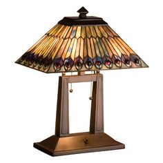 Meyda Tiffany Tiffany Jeweled Peacock Oblong Desk Lamp