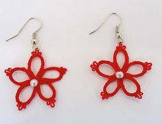 Tatting earrings, hand-made, pure cotton yarn, embellished with crystal pearl.