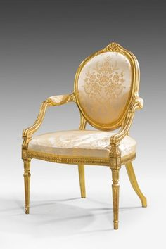 "George III giltwood Elbow Chair 1770 England. 35""H x 25""W x 24""D."