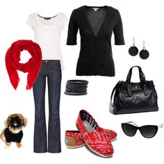 Uhhh.... I actually have almost all of this in my closet! Whoop! Just need to get the red scarf :)