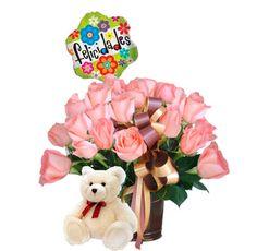 Arreglo Floral Sofía - $125.000 [25 Rosas rosadas, Osito y Globo.]
