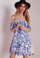 Cold Shoulder Shift Dress White Blue Oriental Print