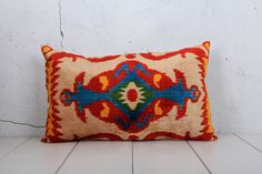 15 x 24 Decorative Pillow Accent Pillow Throw Pillow Ikat Pillow Cover Silk Pillow Red Velvet Ikat Cushion - 04546-120