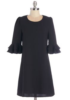 Good Flair Day Dress. Its easy to see that youre looking and feeling great when you parade around in this black shift dress! #black #modcloth