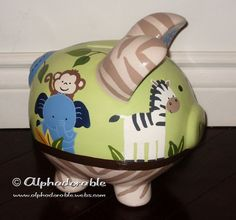 Tiddlywinks safari friends Custom hand painted ceramic personalized piggy by Alphadorable, $80.00