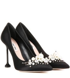 mytheresa.com - Embellished satin pumps - Luxury Fashion for Women / Designer clothing, shoes, bags