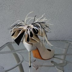 Bridal Party Wedding Nude And Black  Bow And Feather Shoe Clips Set Of Two on Etsy, $40.00