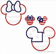 American Flag Mister and Miss Mouse Head SET Machine Applique and Filled Embroidery Design, multiple sizes, including 2, 4, 5, and 7 inch, $7.00